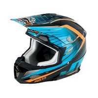 JT RACING COMPOSITE HELMET ALS2.0 BLACK/CYAN/ORANGE MED NEW